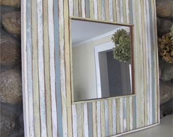 Wood, Recycled, Painted, Mirror, Blues, Greens