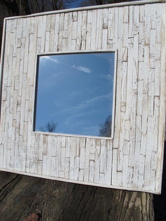 Custom Rochelle:  White washed Beachcomber mirror 40 x 40