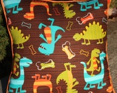 "Dinosaur Pillow in Brown, Orange, Olive Green and Teal - ""Dino Days Pillow"""