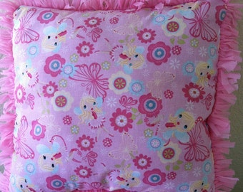 """Fairy Pillow in Pink and Hot Pink - """"Frilly Fairies Pillow"""""""