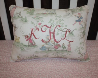 """Toile Print Rectangle Pillow with Personalized Monogramming and Pink Stripe Backing - """"Over the  Moon Rectangle Pillow"""""""