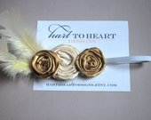 Silk Rosette Gold and Cream Feather Headband, Photo Prop.