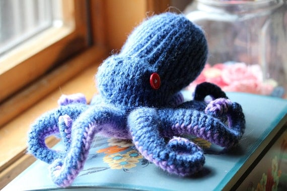 Knitted Octopus Toy Red Blue Purple, Medium sized with adjustable tentacles.