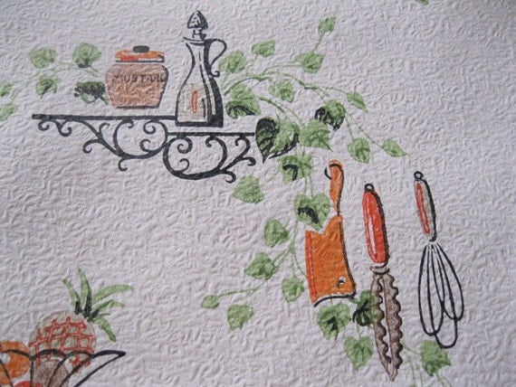 LARGE roll of vintage kitschy wallpaper great for kitchen or cupboard