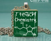 Special Offer -I teach Chemistry - a Jewelry pendant charm made from scrabble wooden tile