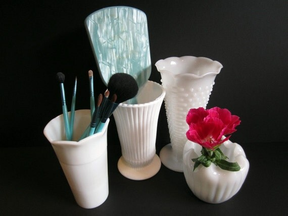 4 Vintage Milkglass Vases Featuring Flutes, Nobs, Ruffles, Ribs and Waves