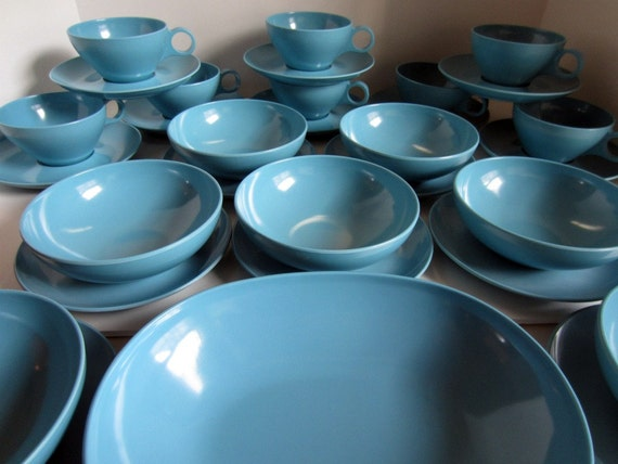 Vintage Turquoise 1950s Melmac or Melamine Prolon Dishes Mid Century Style