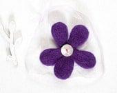 Purple Felt Flower Headband Bracelet Acessory