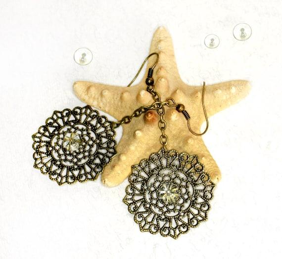 Antiqued brass Earrings 2 inch (5 cm)