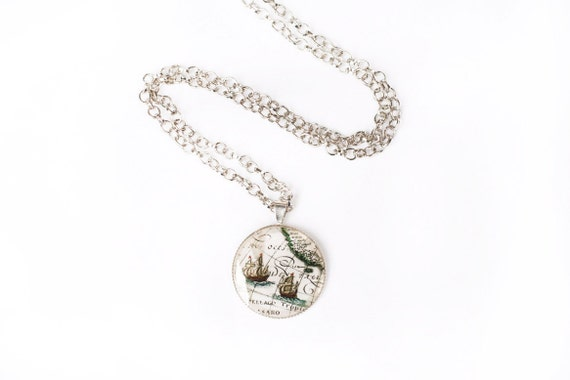 """Vintage """"White Gold Color"""" Necklace decorated with Antique Map and covered with Clear Resin - 10 inch (26 cm)"""