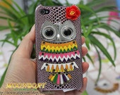 Cell Phone Hard Case Cover With Silvery Owl, Flower for iPhone 4 Case, iPhone 4s Case, iPhone 4 Hard Case, iPhone Case MB307