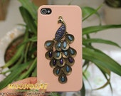 Beautiful Brass Peacock  Light Pink Hard Case Cover With  for iPhone 4 Case, iPhone 4s Case, iPhone 4 Hard Case, iPhone Case MB348