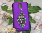 Purple Hard Case Cover With Beautiful Peacock For T-mobile Samsung Galaxy S 2 II S2 T989 MB374