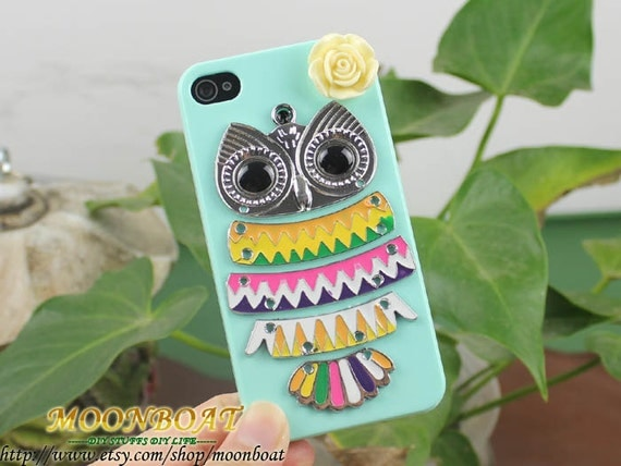 Light Green Hard Case Cover With Antique Silvery Cute Owl , Flower for iPhone 4 Case, iPhone 4s Case, iPhone 4 Hard Case, iPhone Case MB366