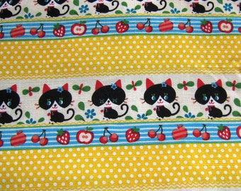 1 Yard Yellow Polka Dots Fruits and Cats Japanese Cotton Fabric