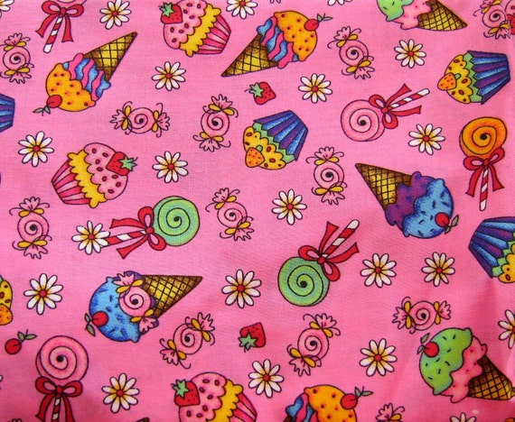 Pink Cupcake Candy Ice Cream Cone Japanese Cotton Fabric Last One..