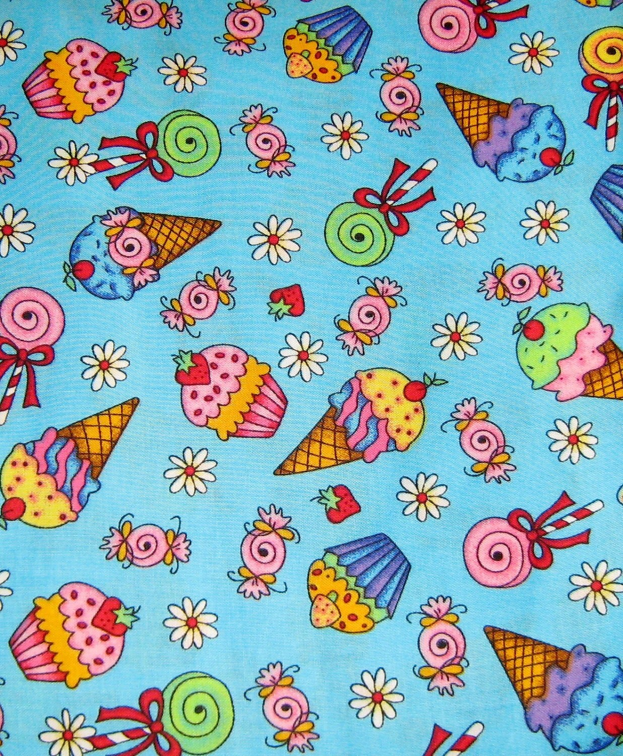 Icing On Fabric: Cupcake Candy Ice Cream Cone Japanese Cotton Fabric Last One