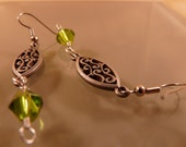 Silver Arabesque with Green Bead Dangle Earrings