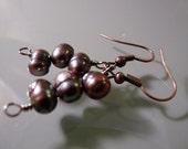 On SALE: 3 Stack Reclaimed Purple Pearl Earrings