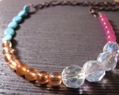 Modern Recycled Coppertone Chain with Hot Pink, Clear, Orange, and Aqua Necklace