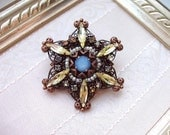 Rhinestone Star Brooch Pin Yellow and Blue in Vintage Style Antique Copper Prong Set Rhinestones