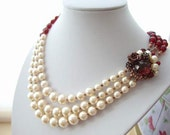 Outstanding Necklace Burgundy & Pearl with Three Rows and Sparkly Rhinestones Antique Copper Statement Rhinestone Beaded Box Clasp