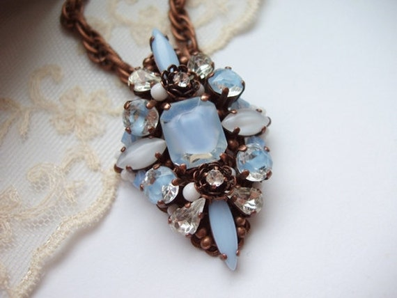 Rhinestone Necklace Pendant and Textured Chain Light Blue with vintage Rhinestones QuietWhispers Pastel Color