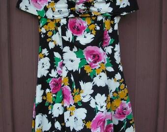 80's Floral Summer Dress, size 9