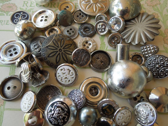 Collection of Metal and Plastic Silver Vintage Buttons S1