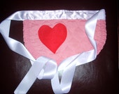 Pretty Place mat Apron- Pink and Lavender with Heart Shaped Pocket