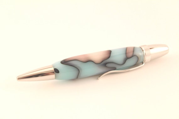 Baby Blue, White, and Black Handmade Ballpoint Pen