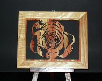 Scroll Saw Flame Red Box Elder Rose with Custom Frame