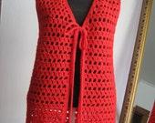 1960s Cherry Red Crocheted Vest with Pom Pom Tie Closure