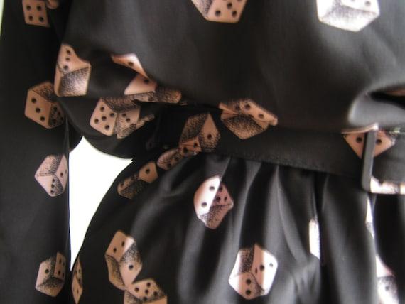 Pink Dice Dress with matching Belt Size 12 Petite