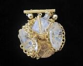 RESERVED / Parfum : Published Designer Jewelry -Crystal And Gold  Brooch/Dressing Table Ornament,Vintage, Miniature Vintage Perfume Bottle