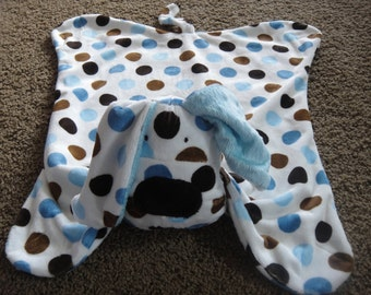 Minky Snuggle Blanket Toy, animal security blanket buddy, sculptured with animal head, Elephant, cows, dogs, frogs,giraffes,lions