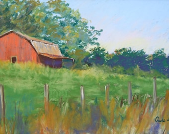 Landscape Painting - Georgia Barn Pastel