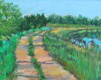 Round The Pond Pastel Landscape