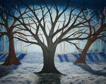 Surreal Snow Hills HUGE 22X28