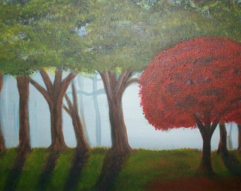One Red Tree 24x12 New Reduced price