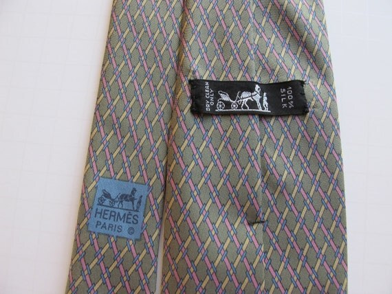 """Reserved -Fathers Day Special - Hermes Tie 7155 FA Blue """"H's"""" on Light Green with Pink, Yellow Silk Neck Tie"""