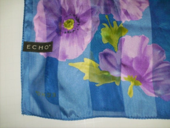 Blue Violet and Turquoise Floral Silk Echo Vintage Scarf