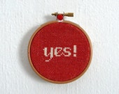 Cross Stitch Pattern - Yes!- Quote Pattern, Easy Cross Stitch, Cross Stitch Design, Instant Pattern, Embroidery - PDF- Instant Download