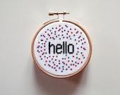Hello- Cross Stitch Pattern, Embroidery Pattern, Cross Stitch Art, Embroidery Art, Welcome Sign, Hello Pattern -PDF- Instant Download