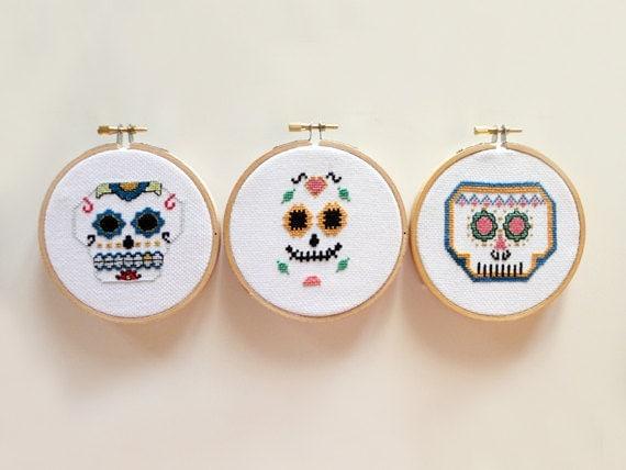 Mexican Skull Team - Sugar Skull, Cross Stitch Pattern, Counted Cross Stitch, Easy Cross Stitch, Modern Cross Stitch, PDF- Instant Download