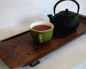 Footed Wood Serving Tray made from Brazilian Cherry- Ready to Ship- Wedding Gift Housewarming Gift