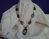 Black and White Abstract glass beaded necklace