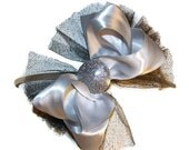 Stunning silver and black satin and tulle headband with a little added sparkle perfect for kids/teens/adults skinny har headband