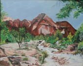 Zion Mountain Stream 8x10 print acrylic painting