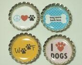 I Love Dogs Bottle Cap Magnets, Set of Four